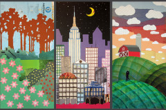 Global Triptych / 2013 / collage, gouache, acrylic, & colored pencil on board / each 15x30""